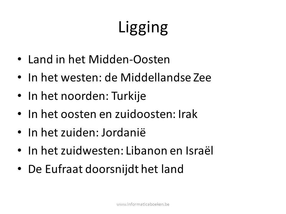 Ligging Land in het Midden-Oosten In het westen: de Middellandse Zee In het noorden: Turkije In het oosten en zuidoosten: Irak In het zuiden: Jordanië