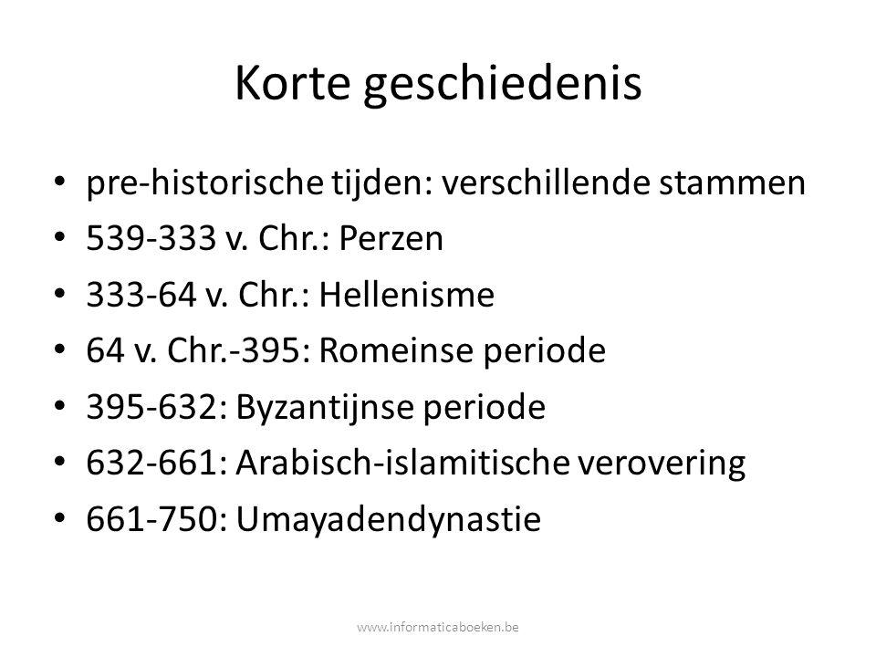 Korte geschiedenis pre-historische tijden: verschillende stammen 539-333 v. Chr.: Perzen 333-64 v. Chr.: Hellenisme 64 v. Chr.-395: Romeinse periode 3