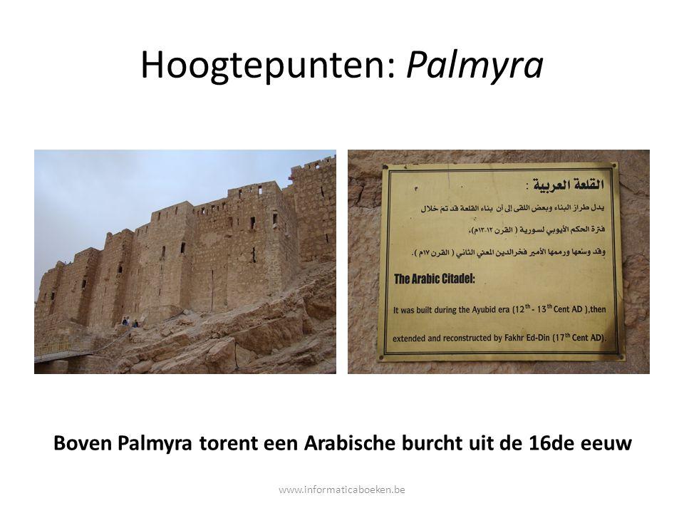 Hoogtepunten: Palmyra Boven Palmyra torent een Arabische burcht uit de 16de eeuw www.informaticaboeken.be
