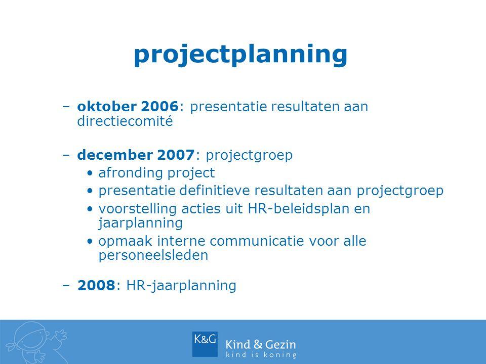 projectplanning –oktober 2006: presentatie resultaten aan directiecomité –december 2007: projectgroep afronding project presentatie definitieve resultaten aan projectgroep voorstelling acties uit HR-beleidsplan en jaarplanning opmaak interne communicatie voor alle personeelsleden –2008: HR-jaarplanning