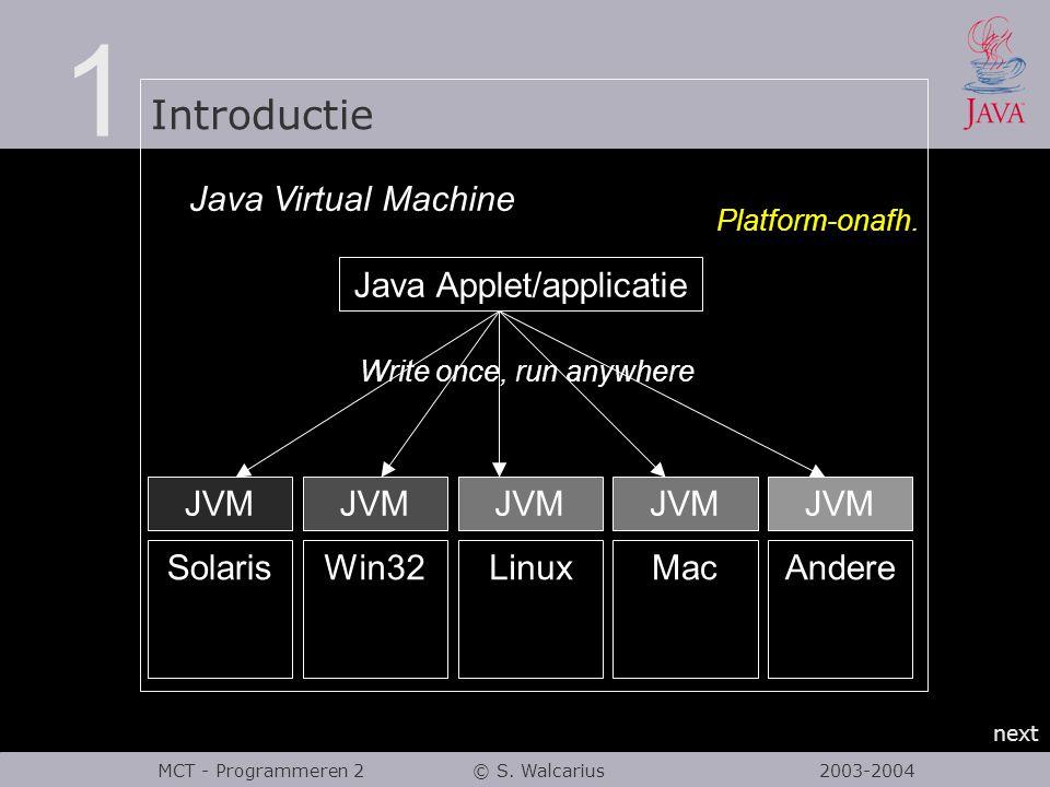 1 Introductie next MCT - Programmeren 2 © S. Walcarius 2003-2004 Java Virtual Machine SolarisWin32LinuxMacAndere JVM Java Applet/applicatie Write once