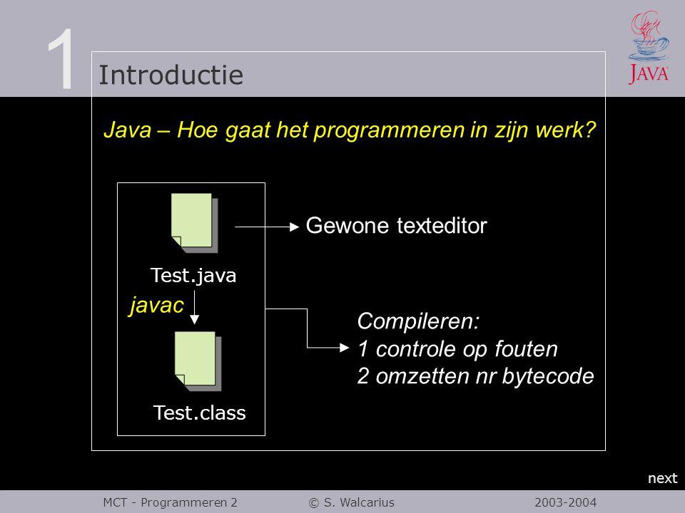 1 Introductie next MCT - Programmeren 2 © S. Walcarius 2003-2004 Java – Hoe gaat het programmeren in zijn werk? Test.java Test.class javac Compileren: