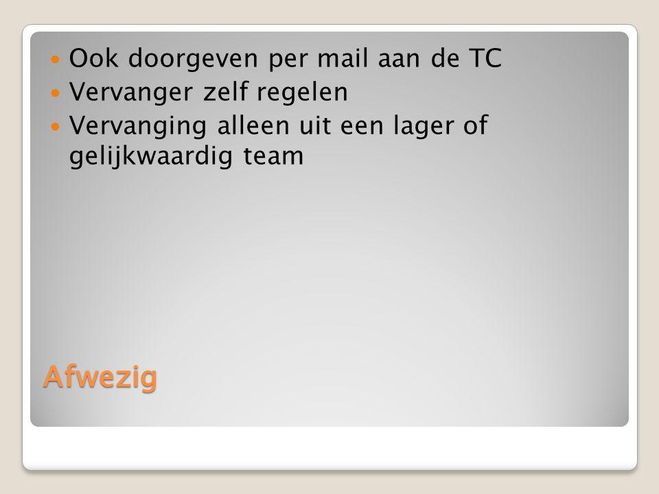 Afwezig Ook doorgeven per mail aan de TC Vervanger zelf regelen Vervanging alleen uit een lager of gelijkwaardig team