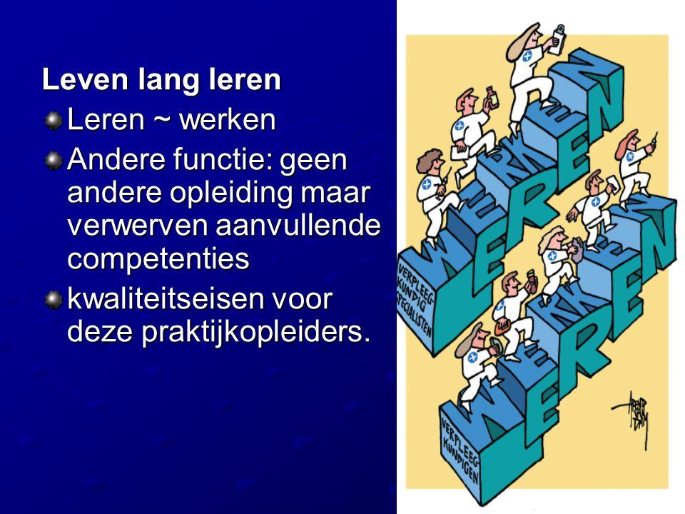 Leven lang leren Leren ~ werken Andere functie: geen andere opleiding maar verwerven aanvullende competenties kwaliteitseisen voor deze praktijkopleid
