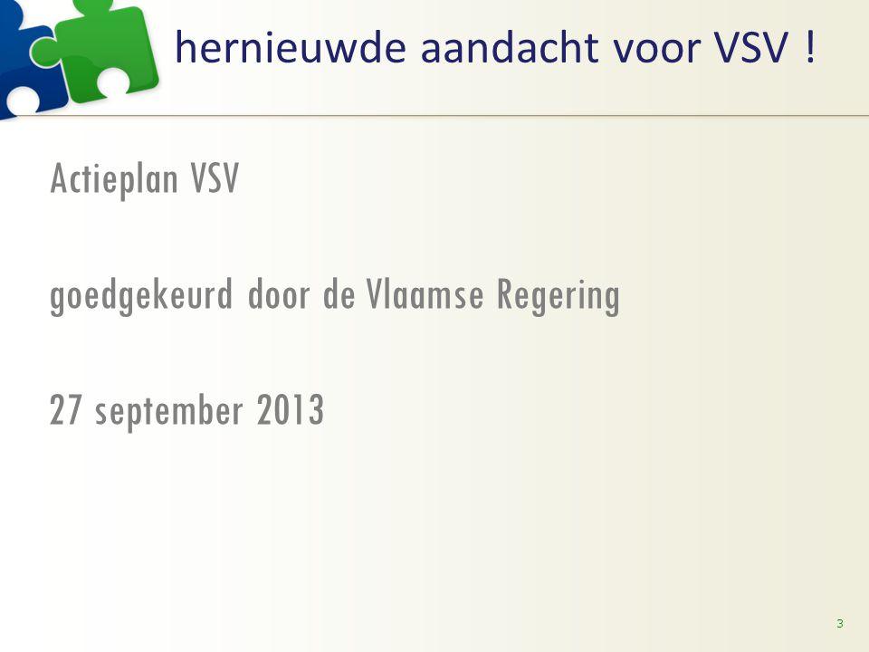 hernieuwde aandacht voor VSV ! Actieplan VSV goedgekeurd door de Vlaamse Regering 27 september 2013 3