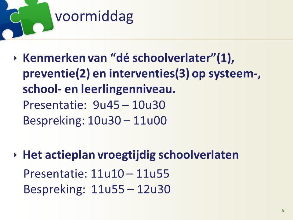 """voormiddag 8  Kenmerken van """"dé schoolverlater""""(1), preventie(2) en interventies(3) op systeem-, school- en leerlingenniveau. Presentatie: 9u45 – 10u"""