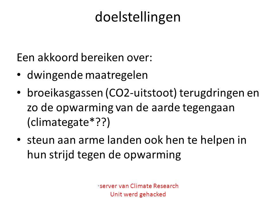 doelstellingen Een akkoord bereiken over: dwingende maatregelen broeikasgassen (CO2-uitstoot) terugdringen en zo de opwarming van de aarde tegengaan (climategate*??) steun aan arme landen ook hen te helpen in hun strijd tegen de opwarming * server van Climate Research Unit werd gehacked