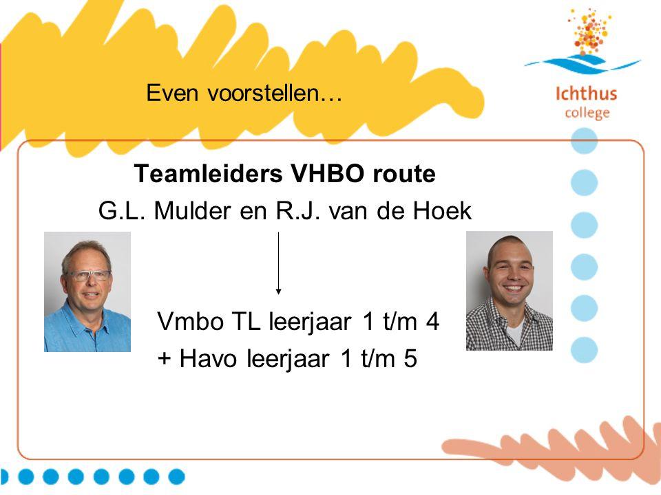 Even voorstellen… Teamleiders VHBO route G.L. Mulder en R.J. van de Hoek Vmbo TL leerjaar 1 t/m 4 + Havo leerjaar 1 t/m 5