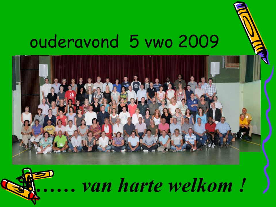 ouderavond 5 vwo 2009  …… van harte welkom !
