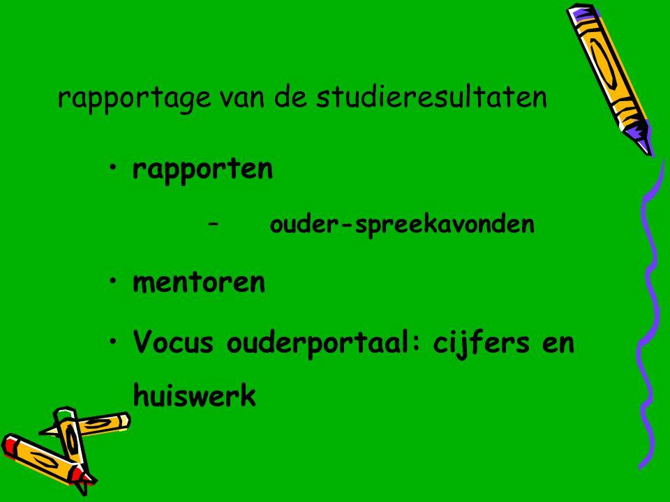 rapportage van de studieresultaten rapporten – ouder-spreekavonden mentoren Vocus ouderportaal: cijfers en huiswerk