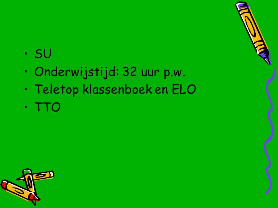SU Onderwijstijd: 32 uur p.w. Teletop klassenboek en ELO TTO