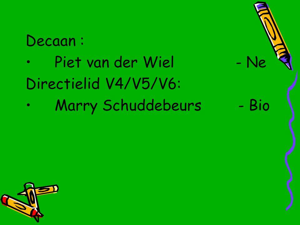 Decaan : Piet van der Wiel- Ne Directielid V4/V5/V6: Marry Schuddebeurs - Bio