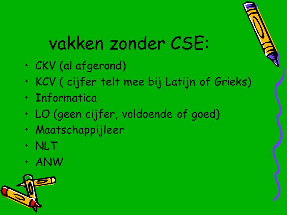 vakken zonder CSE: CKV (al afgerond) KCV ( cijfer telt mee bij Latijn of Grieks) Informatica LO (geen cijfer, voldoende of goed) Maatschappijleer NLT ANW