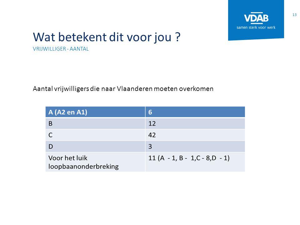 Wat betekent dit voor jou ? VRIJWILLIGER - AANTAL Aantal vrijwilligers die naar Vlaanderen moeten overkomen 13