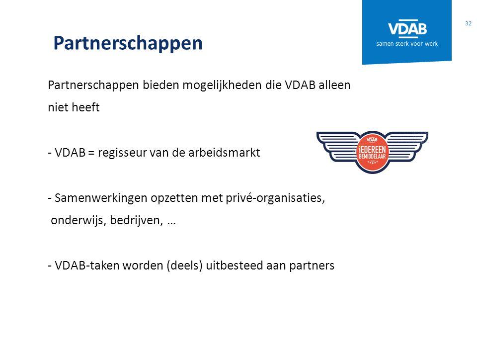 Partnerschappen Partnerschappen bieden mogelijkheden die VDAB alleen niet heeft - VDAB = regisseur van de arbeidsmarkt - Samenwerkingen opzetten met privé-organisaties, onderwijs, bedrijven, … - VDAB-taken worden (deels) uitbesteed aan partners 32