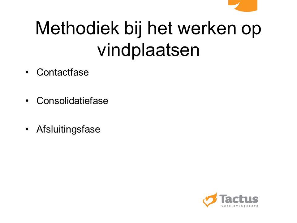 Methodiek bij het werken op vindplaatsen Contactfase Consolidatiefase Afsluitingsfase