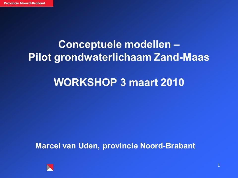 1 Conceptuele modellen – Pilot grondwaterlichaam Zand-Maas WORKSHOP 3 maart 2010 Marcel van Uden, provincie Noord-Brabant