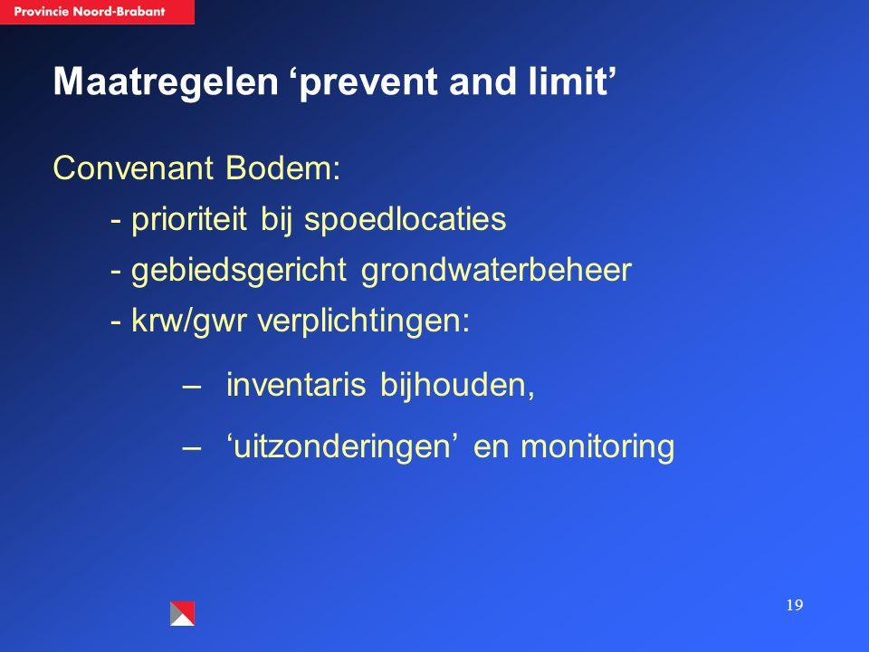 19 Maatregelen 'prevent and limit' Convenant Bodem: - prioriteit bij spoedlocaties - gebiedsgericht grondwaterbeheer - krw/gwr verplichtingen: –inventaris bijhouden, –'uitzonderingen' en monitoring