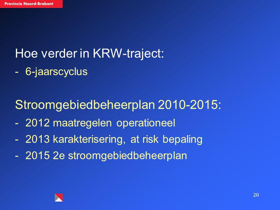 20 Hoe verder in KRW-traject: -6-jaarscyclus Stroomgebiedbeheerplan 2010-2015: -2012 maatregelen operationeel -2013 karakterisering, at risk bepaling -2015 2e stroomgebiedbeheerplan