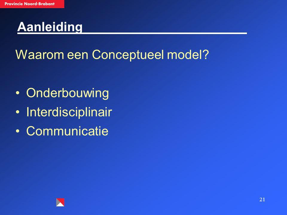 21 Aanleiding Waarom een Conceptueel model? Onderbouwing Interdisciplinair Communicatie
