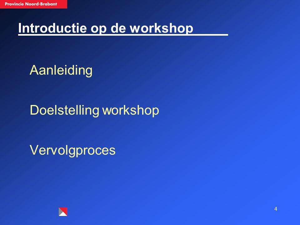 4 Introductie op de workshop Aanleiding Doelstelling workshop Vervolgproces