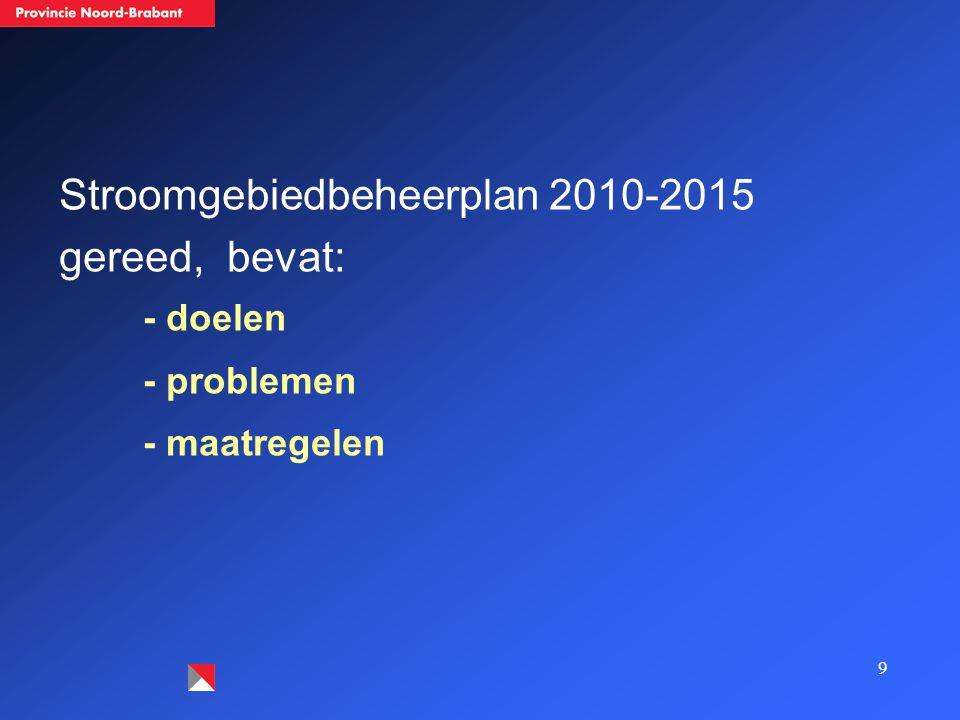 9 Stroomgebiedbeheerplan 2010-2015 gereed, bevat: - doelen - problemen - maatregelen