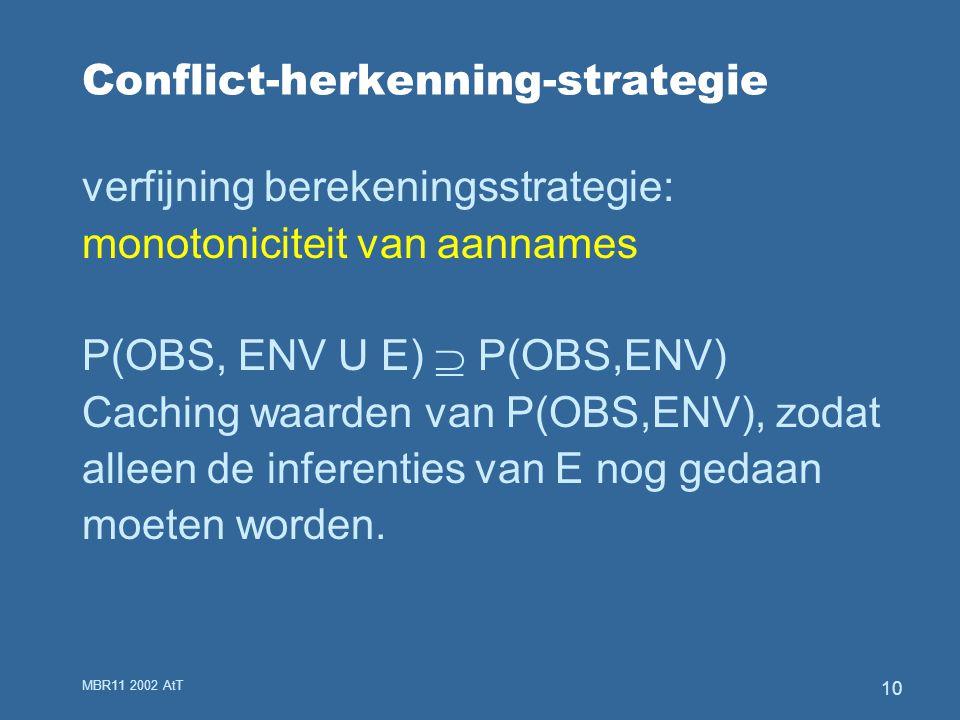 MBR11 2002 AtT 10 Conflict-herkenning-strategie verfijning berekeningsstrategie: monotoniciteit van aannames P(OBS, ENV U E)  P(OBS,ENV) Caching waarden van P(OBS,ENV), zodat alleen de inferenties van E nog gedaan moeten worden.