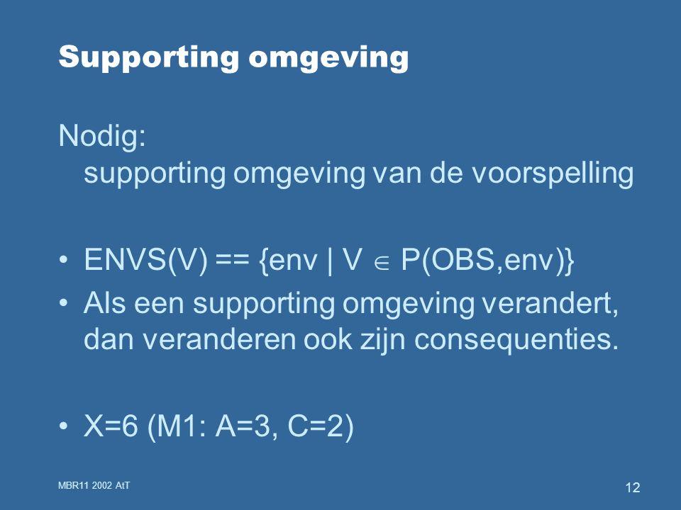 MBR11 2002 AtT 12 Supporting omgeving Nodig: supporting omgeving van de voorspelling ENVS(V) == {env | V  P(OBS,env)} Als een supporting omgeving verandert, dan veranderen ook zijn consequenties.