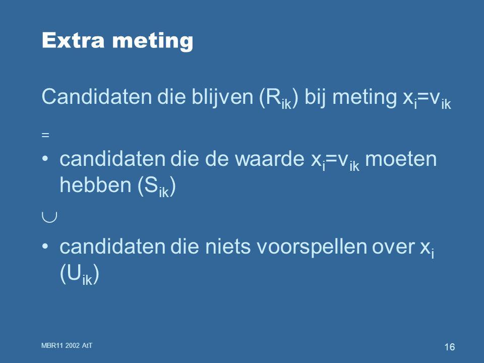 MBR11 2002 AtT 16 Extra meting Candidaten die blijven (R ik ) bij meting x i =v ik = candidaten die de waarde x i =v ik moeten hebben (S ik )  candidaten die niets voorspellen over x i (U ik )