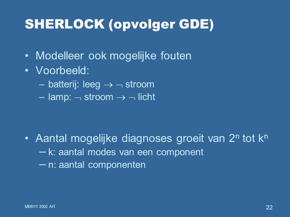 MBR11 2002 AtT 22 SHERLOCK (opvolger GDE) Modelleer ook mogelijke fouten Voorbeeld: –batterij: leeg   stroom –lamp:  stroom   licht Aantal mogelijke diagnoses groeit van 2 n tot k n – k: aantal modes van een component – n: aantal componenten