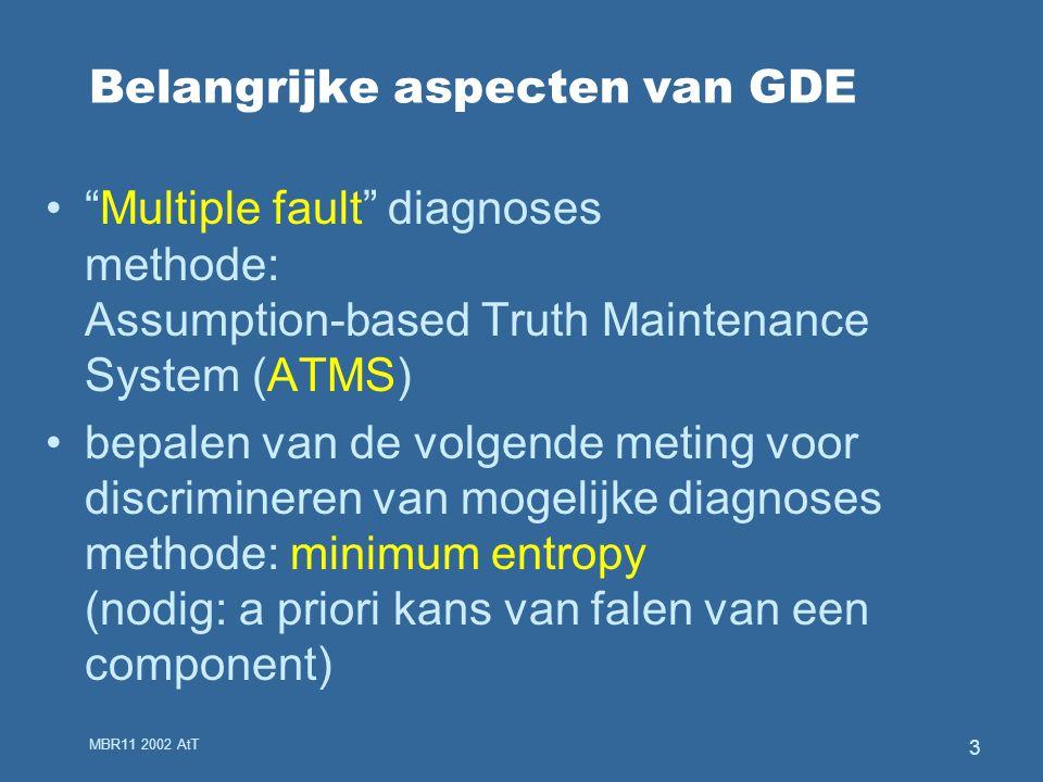 MBR11 2002 AtT 3 Belangrijke aspecten van GDE Multiple fault diagnoses methode: Assumption-based Truth Maintenance System (ATMS) bepalen van de volgende meting voor discrimineren van mogelijke diagnoses methode: minimum entropy (nodig: a priori kans van falen van een component)