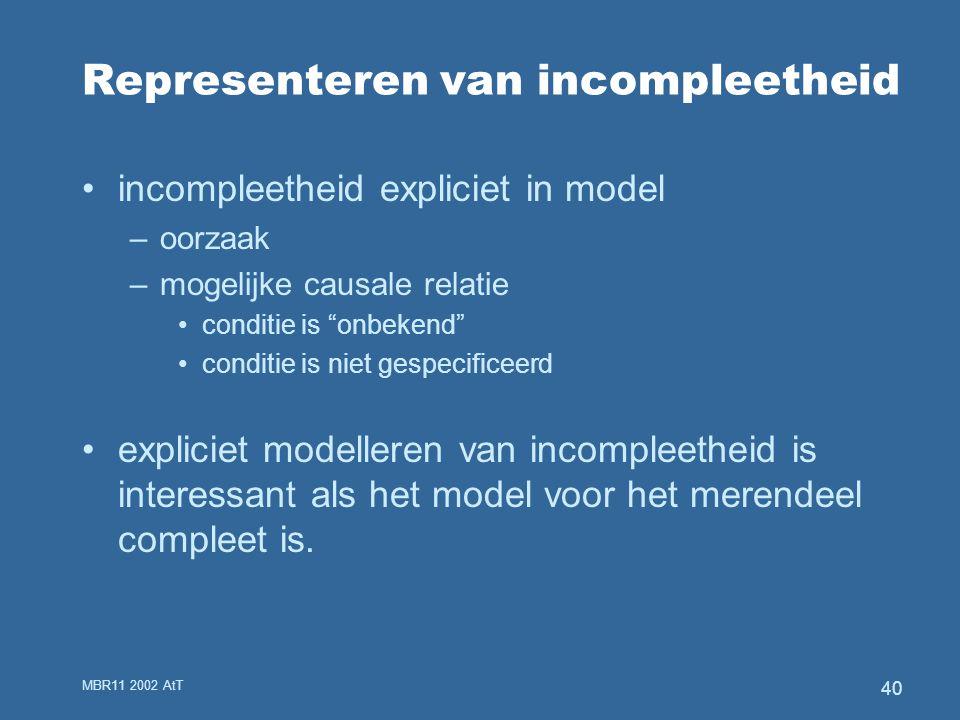 MBR11 2002 AtT 40 Representeren van incompleetheid incompleetheid expliciet in model –oorzaak –mogelijke causale relatie conditie is onbekend conditie is niet gespecificeerd expliciet modelleren van incompleetheid is interessant als het model voor het merendeel compleet is.