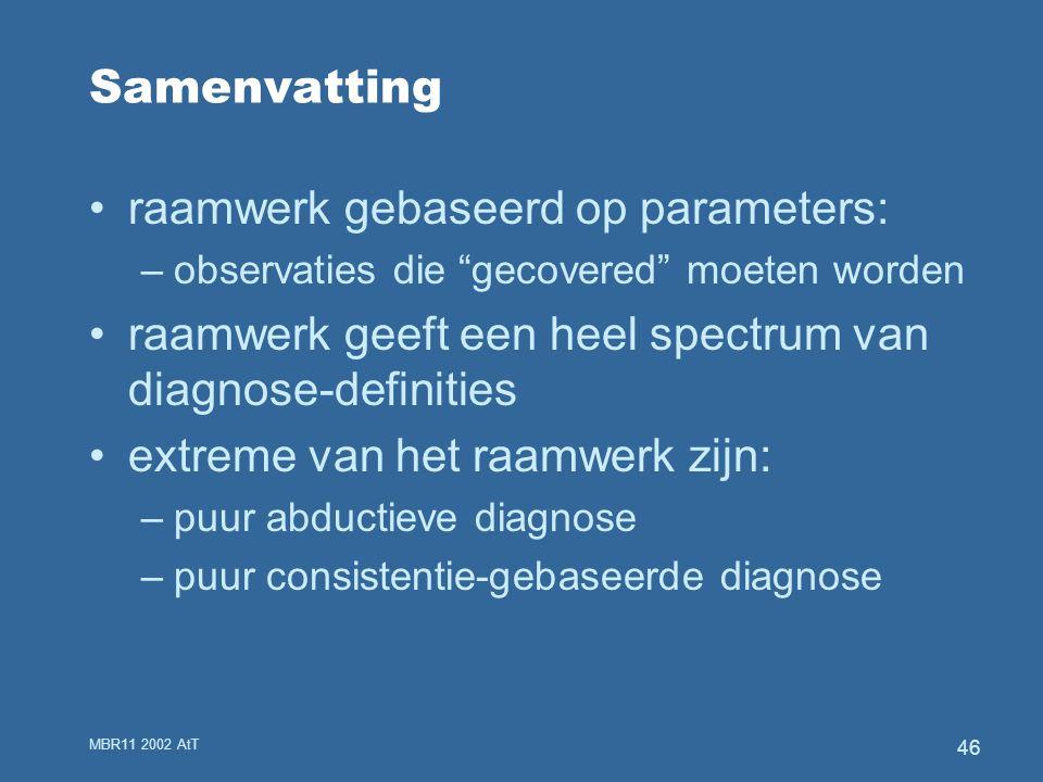 MBR11 2002 AtT 46 Samenvatting raamwerk gebaseerd op parameters: –observaties die gecovered moeten worden raamwerk geeft een heel spectrum van diagnose-definities extreme van het raamwerk zijn: –puur abductieve diagnose –puur consistentie-gebaseerde diagnose