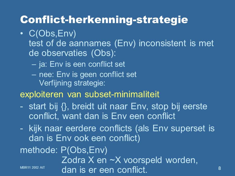 MBR11 2002 AtT 8 Conflict-herkenning-strategie C(Obs,Env) test of de aannames (Env) inconsistent is met de observaties (Obs): –ja: Env is een conflict set –nee: Env is geen conflict set Verfijning strategie: exploiteren van subset-minimaliteit -start bij {}, breidt uit naar Env, stop bij eerste conflict, want dan is Env een conflict -kijk naar eerdere conflicts (als Env superset is dan is Env ook een conflict) methode: P(Obs,Env) Zodra X en ~X voorspeld worden, dan is er een conflict.