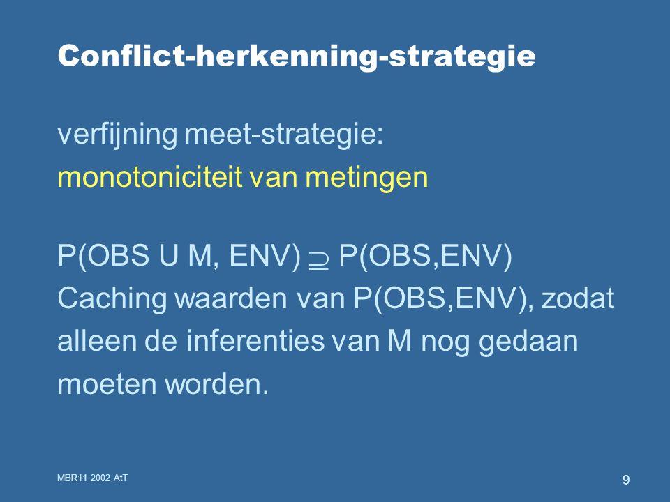 MBR11 2002 AtT 9 Conflict-herkenning-strategie verfijning meet-strategie: monotoniciteit van metingen P(OBS U M, ENV)  P(OBS,ENV) Caching waarden van P(OBS,ENV), zodat alleen de inferenties van M nog gedaan moeten worden.