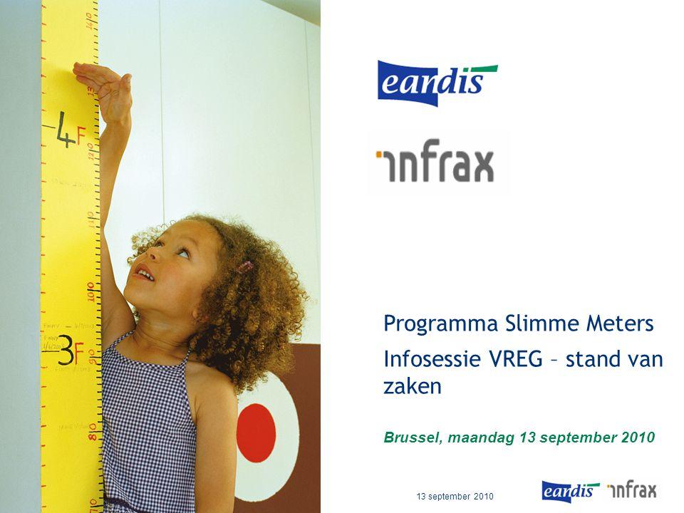 PMO – F1 – Infosessie VREG – Stand van zaken 13 september 2010 Programma Slimme Meters Infosessie VREG – stand van zaken Brussel, maandag 13 september 2010