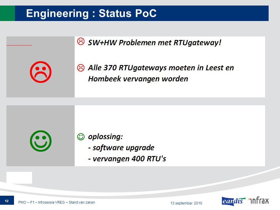 PMO – F1 – Infosessie VREG – Stand van zaken 13 september 2010 Engineering : Status PoC 12