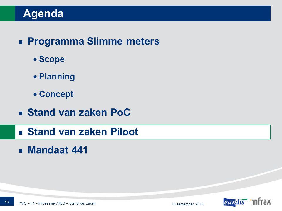 PMO – F1 – Infosessie VREG – Stand van zaken 13 september 2010 Agenda Programma Slimme meters  Scope  Planning  Concept Stand van zaken PoC Stand van zaken Piloot Mandaat 441 13