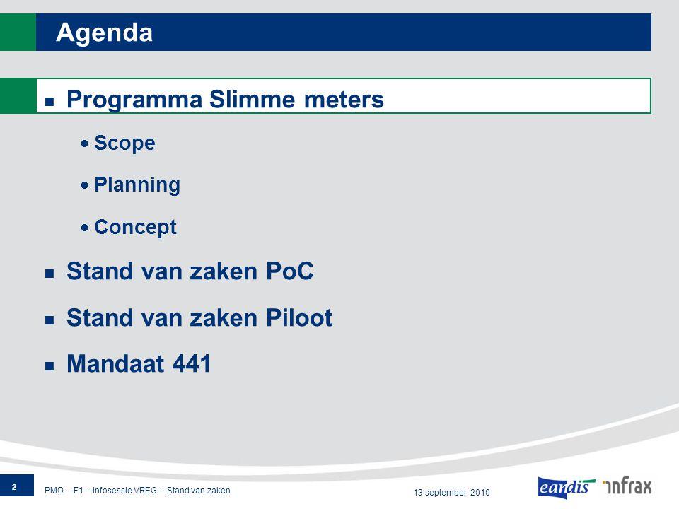 PMO – F1 – Infosessie VREG – Stand van zaken 13 september 2010 Agenda Programma Slimme meters  Scope  Planning  Concept Stand van zaken PoC Stand van zaken Piloot Mandaat 441 2