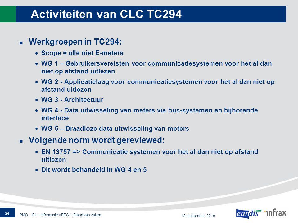 PMO – F1 – Infosessie VREG – Stand van zaken 13 september 2010 Activiteiten van CLC TC294 Werkgroepen in TC294:  Scope = alle niet E-meters  WG 1 – Gebruikersvereisten voor communicatiesystemen voor het al dan niet op afstand uitlezen  WG 2 - Applicatielaag voor communicatiesystemen voor het al dan niet op afstand uitlezen  WG 3 - Architectuur  WG 4 - Data uitwisseling van meters via bus-systemen en bijhorende interface  WG 5 – Draadloze data uitwisseling van meters Volgende norm wordt gereviewed:  EN 13757 => Communicatie systemen voor het al dan niet op afstand uitlezen  Dit wordt behandeld in WG 4 en 5 24