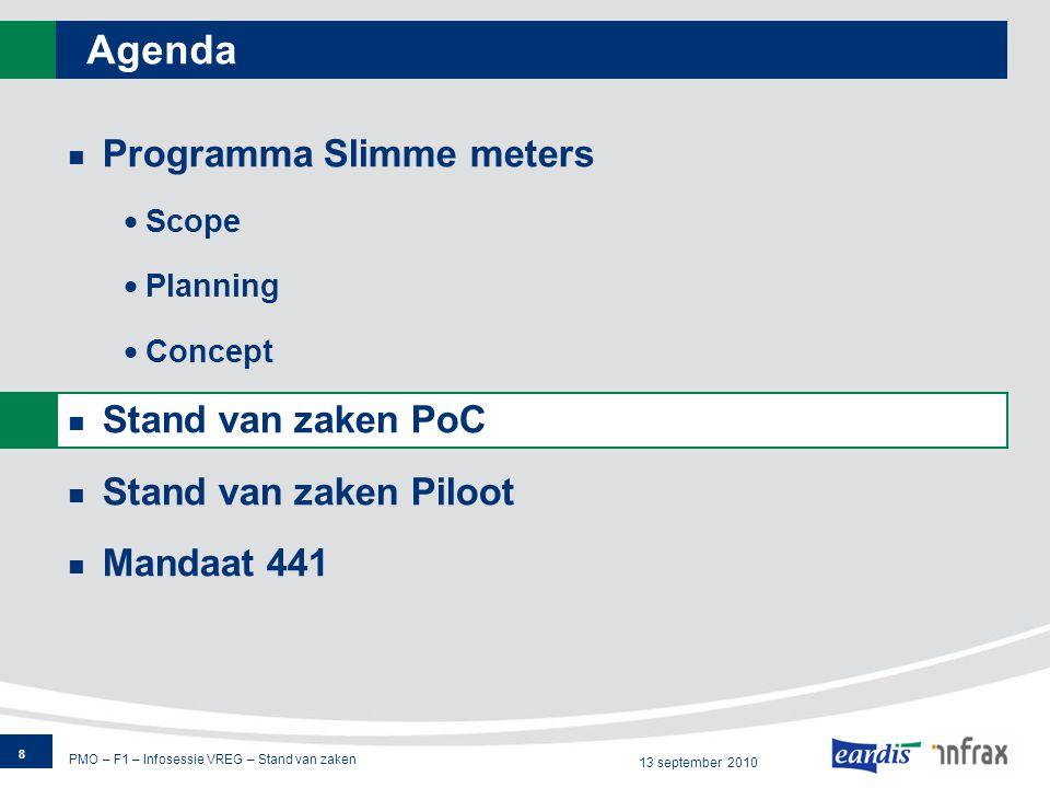 PMO – F1 – Infosessie VREG – Stand van zaken 13 september 2010 M441: overzicht van de verantwoordelijkheden 19