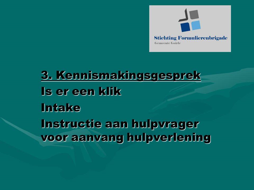 3. Kennismakingsgesprek Is er een klik Intake Instructie aan hulpvrager voor aanvang hulpverlening