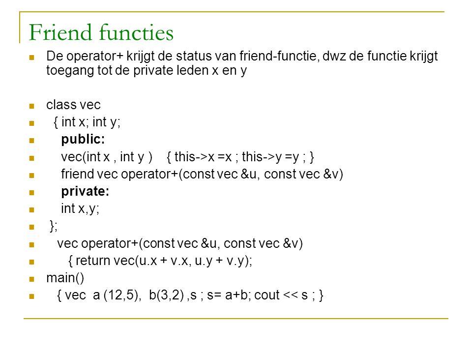 Friend functies De operator+ krijgt de status van friend-functie, dwz de functie krijgt toegang tot de private leden x en y class vec { int x; int y;