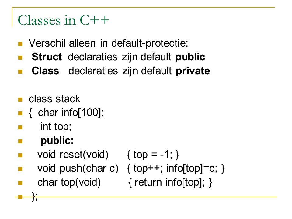 Classes in C++ Verschil alleen in default-protectie: Struct declaraties zijn default public Class declaraties zijn default private class stack { char