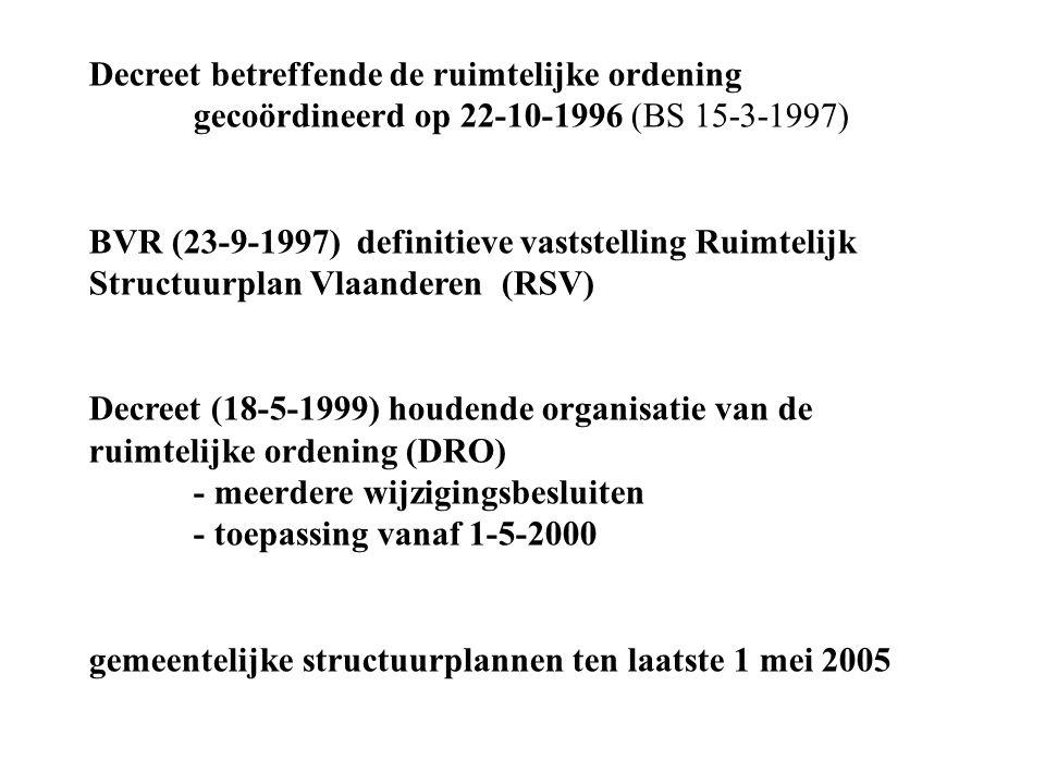 Decreet betreffende de ruimtelijke ordening gecoördineerd op 22-10-1996 (BS 15-3-1997) BVR (23-9-1997) definitieve vaststelling Ruimtelijk Structuurpl