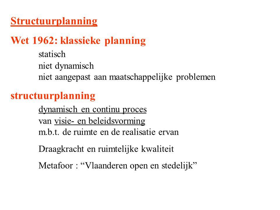 Structuurplanning Wet 1962: klassieke planning statisch niet dynamisch niet aangepast aan maatschappelijke problemen structuurplanning dynamisch en co