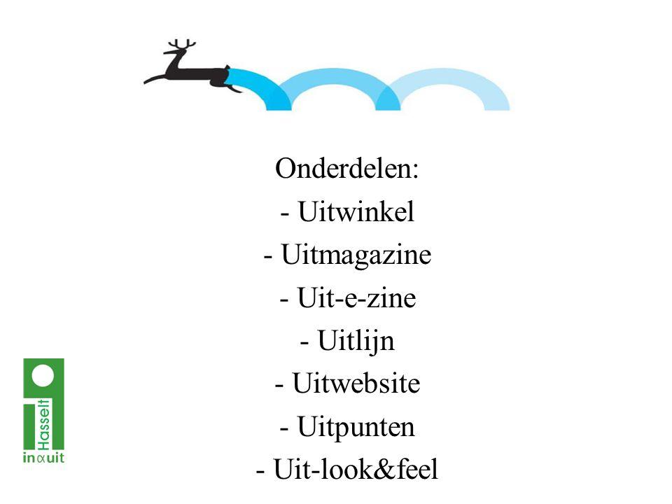 Onderdelen: - Uitwinkel - Uitmagazine - Uit-e-zine - Uitlijn - Uitwebsite - Uitpunten - Uit-look&feel