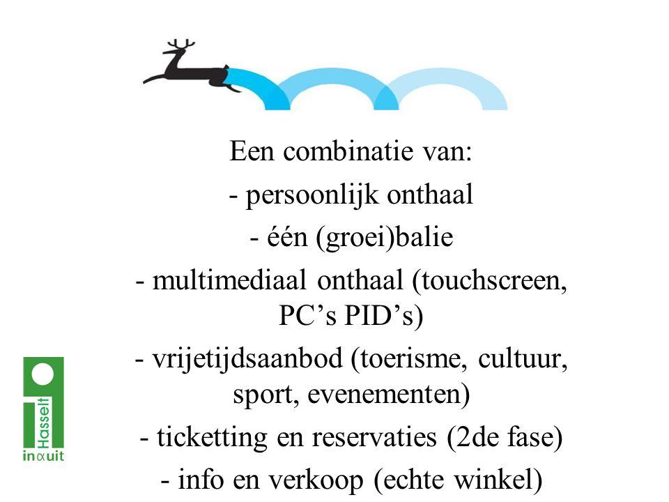 Een combinatie van: - persoonlijk onthaal - één (groei)balie - multimediaal onthaal (touchscreen, PC's PID's) - vrijetijdsaanbod (toerisme, cultuur, sport, evenementen) - ticketting en reservaties (2de fase) - info en verkoop (echte winkel)