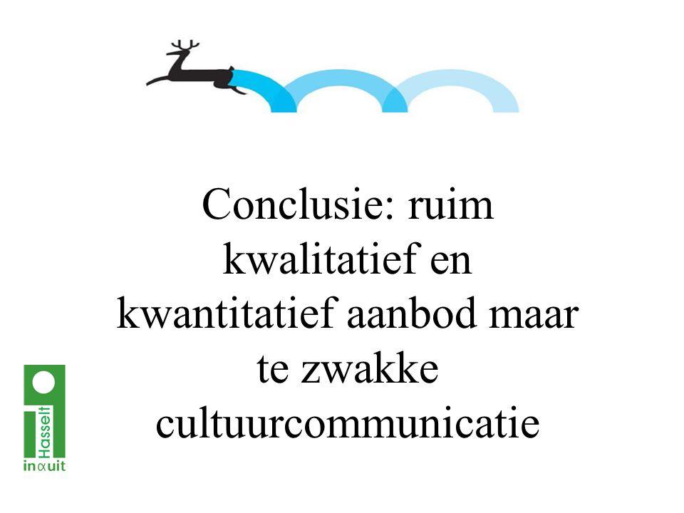 Conclusie: ruim kwalitatief en kwantitatief aanbod maar te zwakke cultuurcommunicatie
