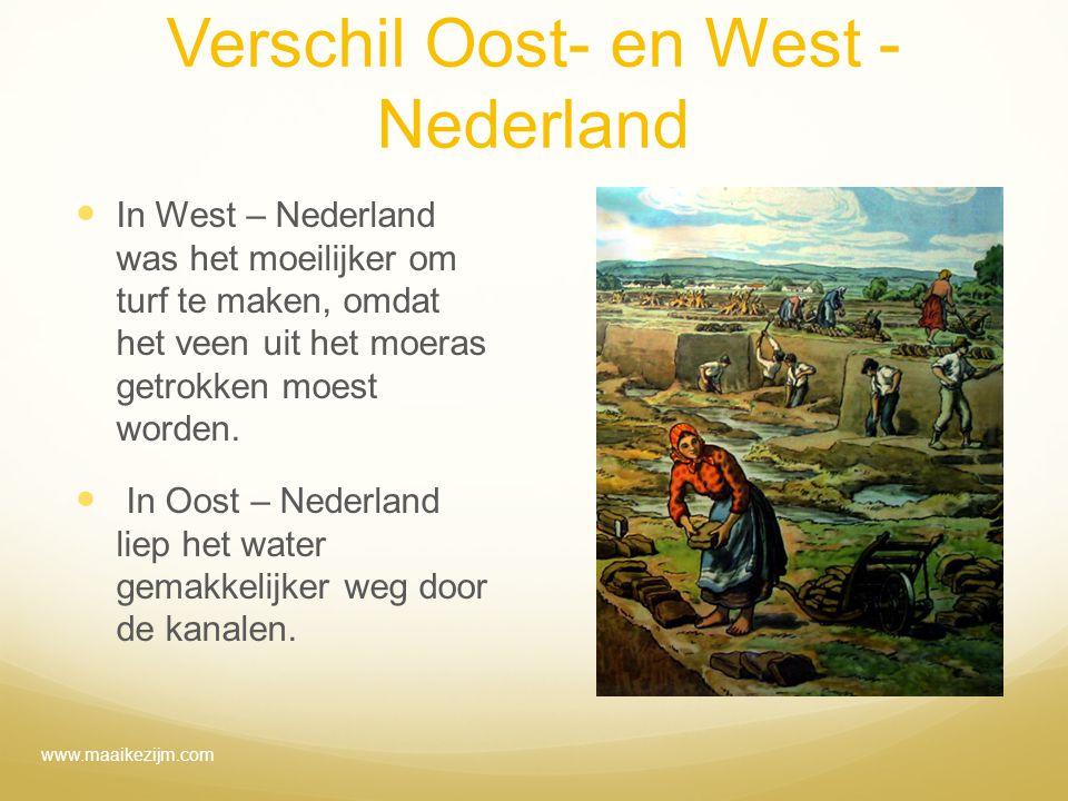 Verschil Oost- en West - Nederland In West – Nederland was het moeilijker om turf te maken, omdat het veen uit het moeras getrokken moest worden. In O